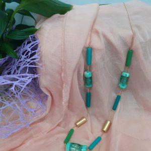 collar cristal verde agua