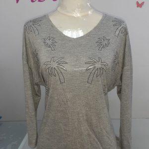 camiseta gris palmeras